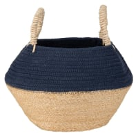 Two-Tone Cotton and Plant Fibre Basket with Tassels