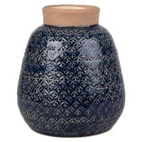 Vase aus Keramik und Zement, blau mit grafischen Motiven H20