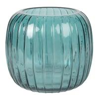 Vase boule en verre strié bleu canard H17