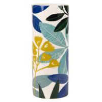Vase en grès blanc imprimé feuillages H30