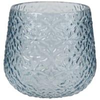 Vase en verre teinté bleu motifs fleurs H15