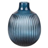 Vase en verre teinté strié bleu H18