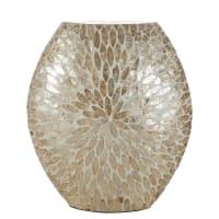 IZALINE - Vaso in madreperla bianca con motivi dorati alt. 44cm
