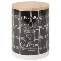 Vaso in maiolica nero con stampa, h 18 cm Food Market