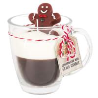 GINGERBREAD MAN - Vela de Natal em chávena de cristal com pão de gengibre