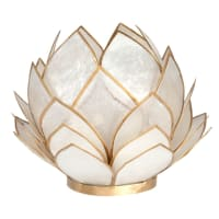 NYMPHEA - Vela em copo com nenúfar em madrepérola branca e metal dourado