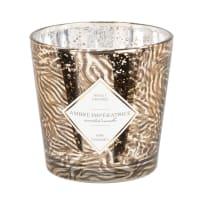 NORA - Vela perfumada em copo de vidro dourado, preto e branco