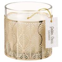 FEUILLE D'OR - Vela perfumada em copo de vidro e metal dourada