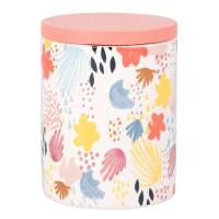 Vela perfumada en tarro de cerámica blanca con estampado y tapa