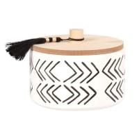 Vela perfumada en tarro de cerámica blanca, negra y beige