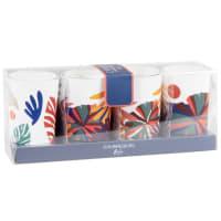 JOAHNNESBURG - Lote de 2 - Velas perfumadas em copo de vidro com motivos multicoloridos (x4)