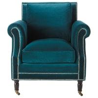 Velvet armchair in peacock blue Baudelaire