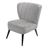 Velvet armchair with black and white motifs Palm