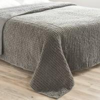 Velvet quilted bedspread in grey 240 x 260cm