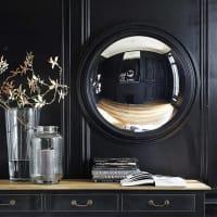 wooden convex mirror in black H 90cm Vendome