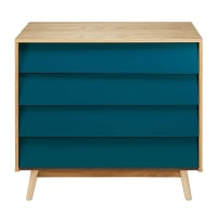 Vintage Petrol Blue 4-Drawer Chest Fjord
