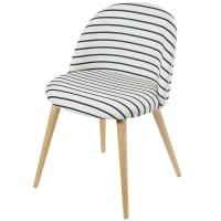 Vintage stoel met marineprint en massief berkenhout Mauricette