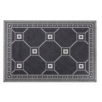FIRENZE - Vinyl-Teppich mit Zementfliesenmuster, schwarz und ecrufarben 100x150
