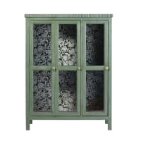 ROSARIO - Vitrina con 2 puertas de acacia maciza y vidrio templado