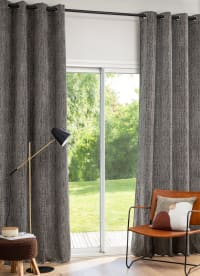 NOSTET - Vorhang aus Jacquard-Gewebe mit Ösen, olivgrün, 1 Vorhang, 140x270cm