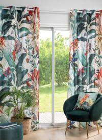 GODALMING - Vorhang mit buntem Blätterprint mit Ösen, 1 Vorhang, 135x250cm