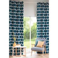 Vorhang mit türkisblauen Motiven, 1 Vorhang 140x300 Aston