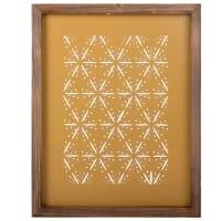 Wandbild aus gelbem perforiertem Metall und Tannenholz 32x40