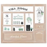 Wandbild mit Schaufensterdarstellung, Teestube aus Paulownienholz 70x60 Tea Room