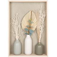 Wanddecoratie met beige droogbloemen in ecru, grijze en groene vazen 35 x 50 cm