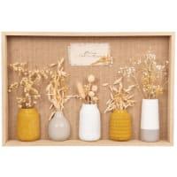ELIE - Wanddecoratie met vaas en gedroogde bloemen 45 x 30 cm