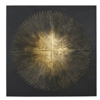 SOLAR - Wanddecoratie uit zwart metaal en verguld reliëf 90 x 90 cm