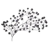 KIMI - Wanddecoratie van zwarte metalen bloem 136x73