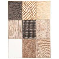 VALLICA - Wanddeko aus Mangoholz, braun, weiß und cremefarben, 52x70cm