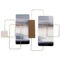 LANDSCAPE - Wanddeko aus Metall, goldfarben, blau, taupe und beige, 71x50cm