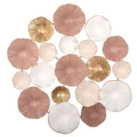 Wanddeko aus Metall, goldfarben und rosa 45x47 Rosaly