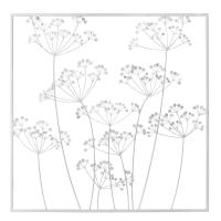 Wanddeko aus Metall, Pflanzen, weiß 92x92 Irina