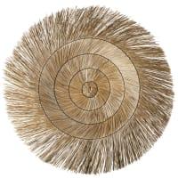 KAMPALA - Wanddeko aus Pflanzenfaser und schwarzem Metall, D101cm