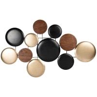 THOR - Wanddeko aus Plantanenholz und Metall, goldfarben, braun und schwarz, 80x48cm