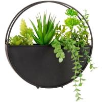 ADAM - Wanddeko aus schwarzem Metall mit künstlicher Pflanze, D25cm