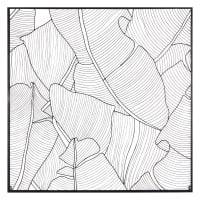 Wanddeko Blatt aus schwarzem Metall 100x100 Amazonie