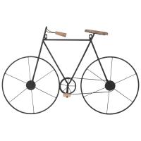 Wanddeko Fahrrad aus Tannenholz und Metall, schwarz, 76x50