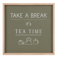 Wanddeko khakigrün, bedruckt 28x28 Tea Time