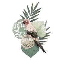 PARROT - Wanddeko mit Tropendekor in Grün und Rosa 36x56
