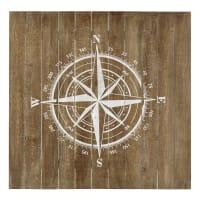 Wanddekoration  aus Holz, 90 x 90cm Kompass