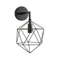 Wandleuchte aus schwarzem Metalldraht Diamond