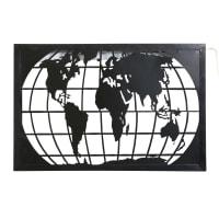 Wandleuchte mit Weltkartenmotiv aus schwarzem Metall mit Stanzmotiven Mappemonde