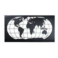 Wandtafel 'Weltkarte' aus schwarzem Metall, 150x80 James