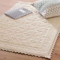 Webteppich aus ecrufarbener Baumwolle 60x90 Alessa