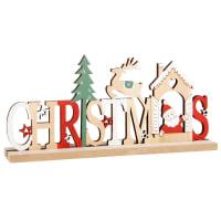 Weihnachtlicher Deko-Schriftzug mit buntem Dekor