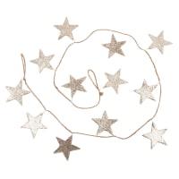 Weihnachtsgirlande Sterne mit goldfarbenem Glitzer L150